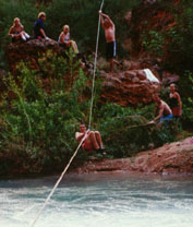 the rope, Shaun holds down the bushes, and Kevin zips into the river